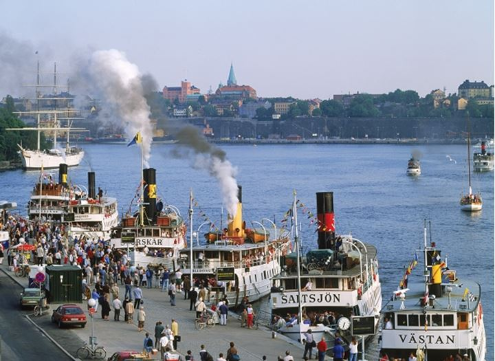 Annual Stockholm Archipelago Boat Day in June with ferryboats anchored at Blasieholmen Island