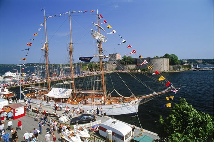 Classic Yacht Festival at Vaxholm Island with Vaxholm Castle in Stockholm Archipelago