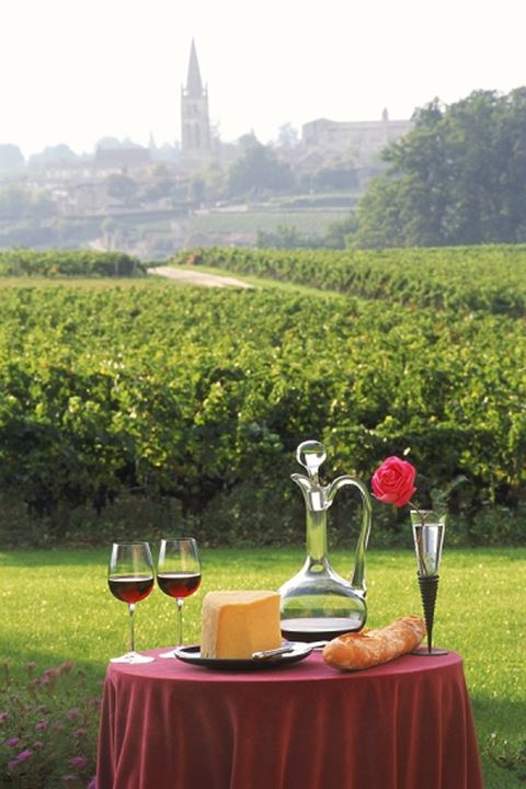 French wine, cheese and bread with vineyards and Saint Emilion church beyond