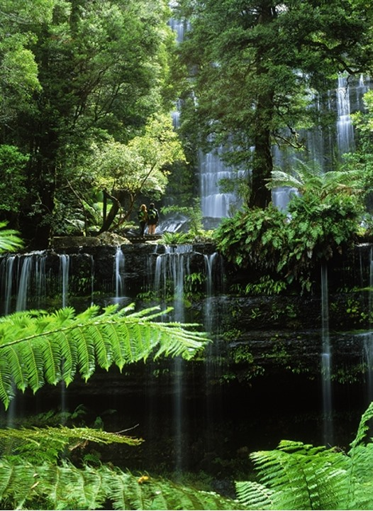 Couple at Russell Falls in Mount Field National Park in Tasmania Australia