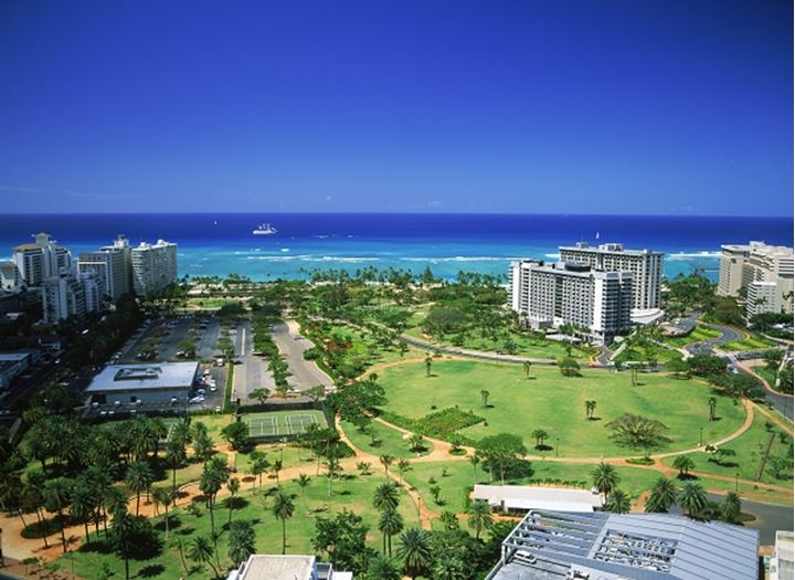 Overview of Fort Derussy Park and Waikiki hotels in Honolulu on Oahu Island, Hawaii