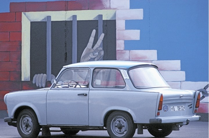 GERMANY BERLIN THE BERLIN WALL AND TRABANT CAR