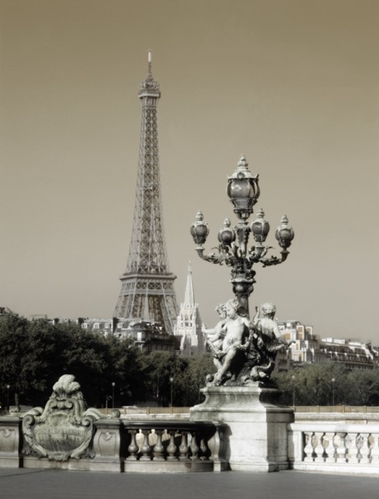 Eiffel Tower with Pont Alexandre III in Paris, France