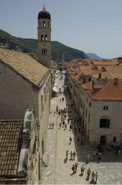 High angle view of people at an alleyway in Croatia, Dubrovnik
