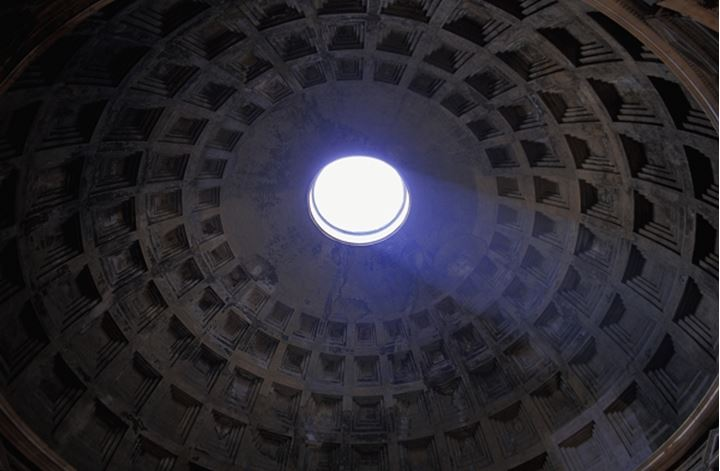Italy Lazio Rome ceiling of the Pantheon Pantheons oculus view from below