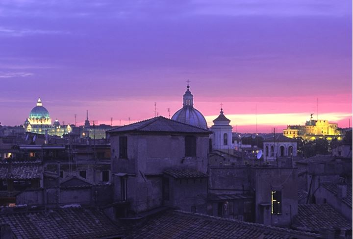 ITALY ROME DOMES OF ST PETER S BASILICA AND ST CARLO AL CORSO CHURCH WITH ST ANGELO CASTLE