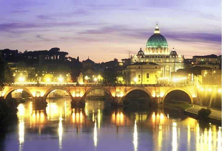 ITALY ROME SAINT PETER S BASILICA AND SANT ANGELO BRIDGE VATICAN CITY