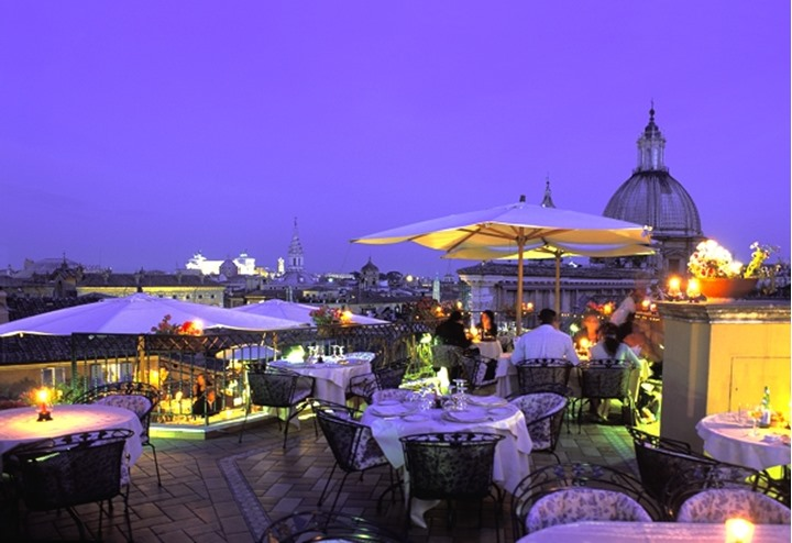 ITALY ROME ROMANTIC ROOFTOP RESTAURANT NEAR NAVONA SQUARE