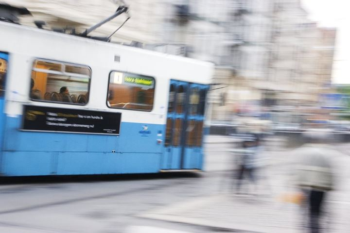 Tram moving on a city street