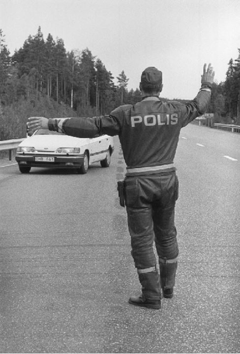 Police  stopping a car, Sweden