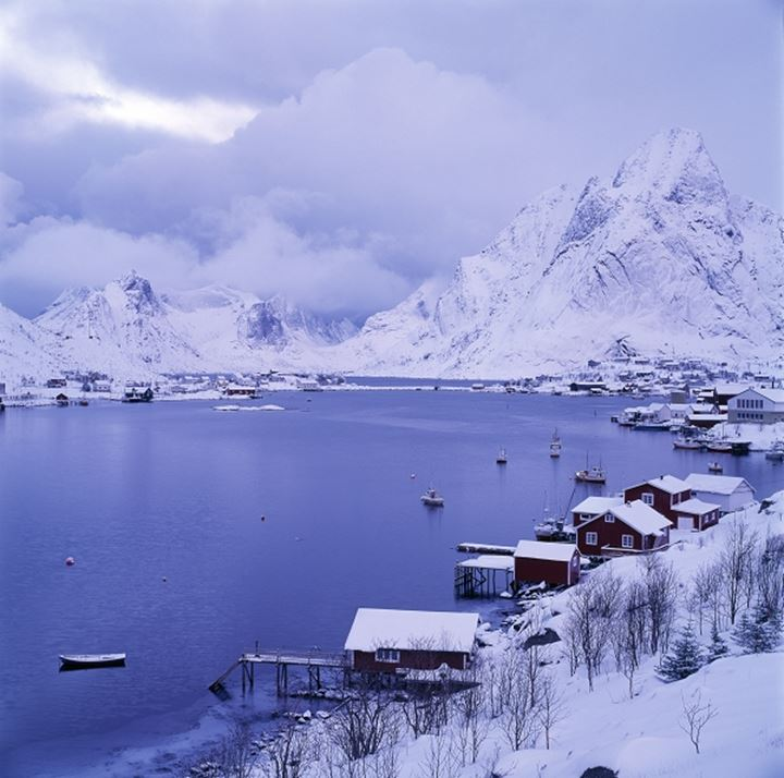 A fjord in Norway in wintertime