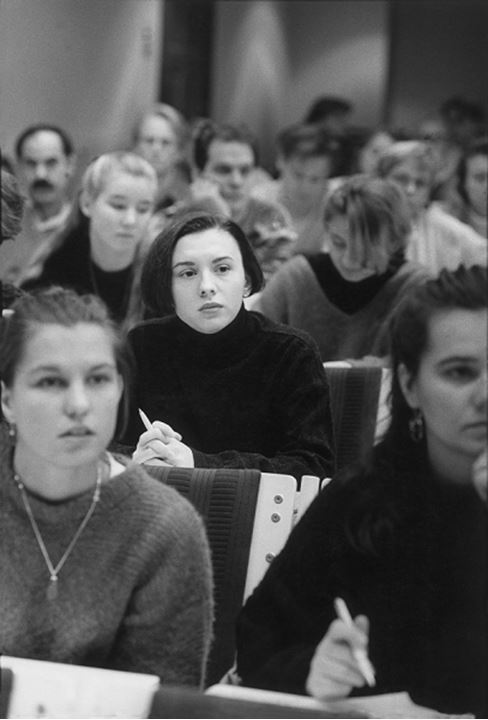 Front view of college students studying in the classroom