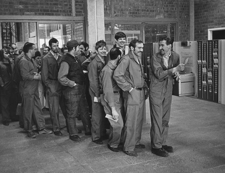 Mens waiting in line, Konsum Stockholm 60´s
