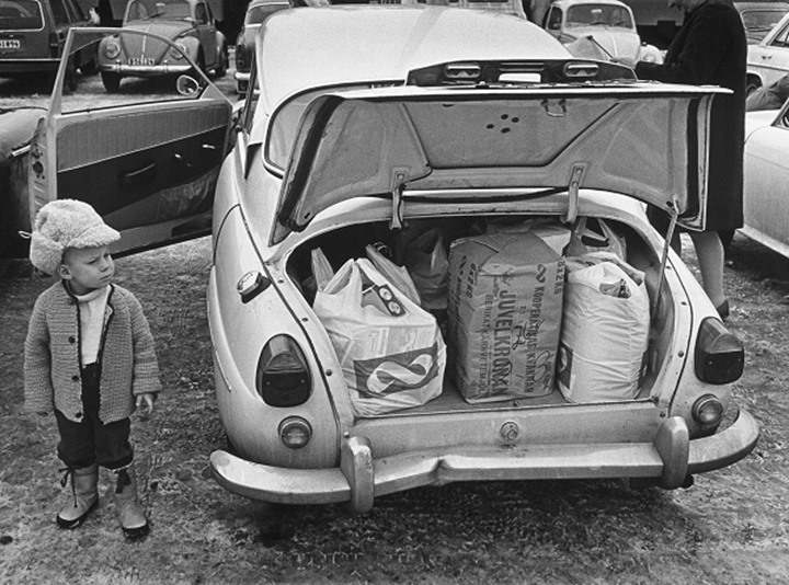 Groceries in a trunk of a car, Stockholm