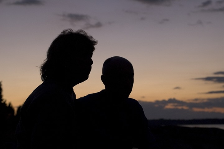 Silhouettes of a man and a woman
