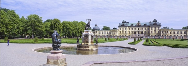 Panoramic view of statues in pond at slot in Stockholm, Sweden