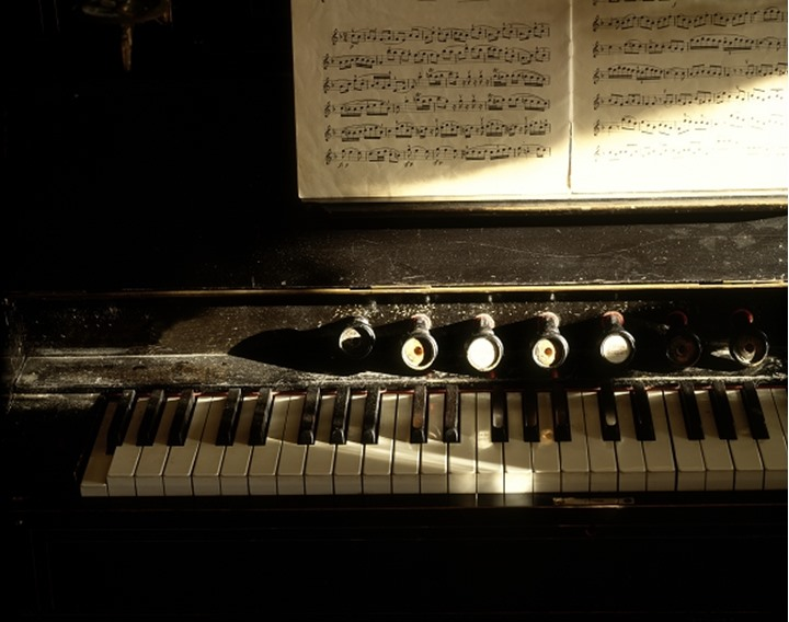 An old organ and music sheets