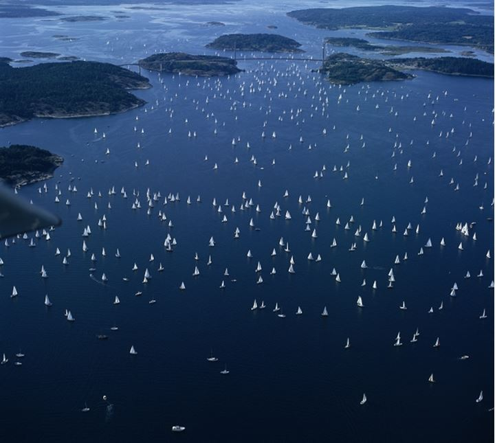 """Air Photo of the the sailing race named """"Tjorn runt"""" in Bohuslan, Sweden"""