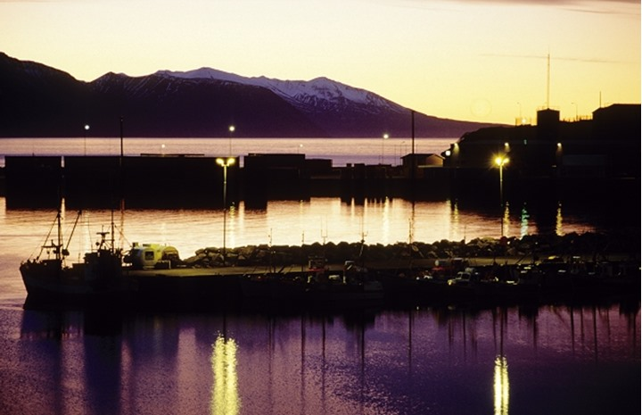 Iceland, Harbour at sea and hills at distance