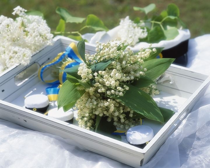Close up of a bouquet in the tray