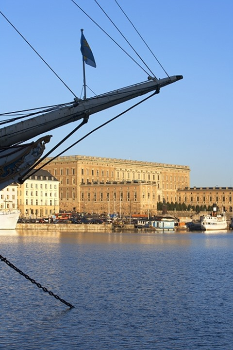 Boats by the royal palace in Stockholm, Sweden