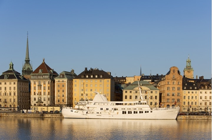A big boat by the old district of Stockholm, Gamla Stan, Sweden