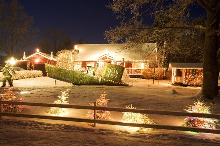 House decorated on christmas with lights