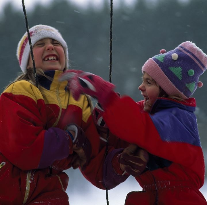 Close-up of two girls playing