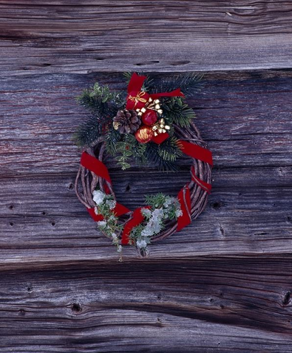 Close-up of a wreath on a wooden surface