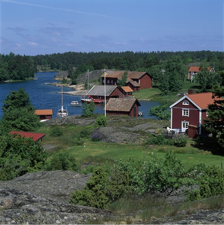 High angle view of houses at the waterfront,Gryts Archipelago in Östergöland,Sweden