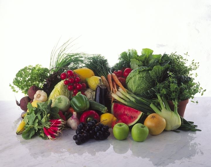 Close up of the vegetables and fruits