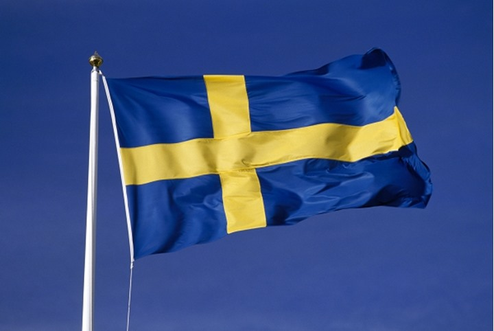 Closeup view of a swedish flag