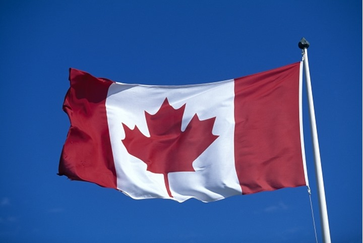 Canadian national flag featuring the maple leaf