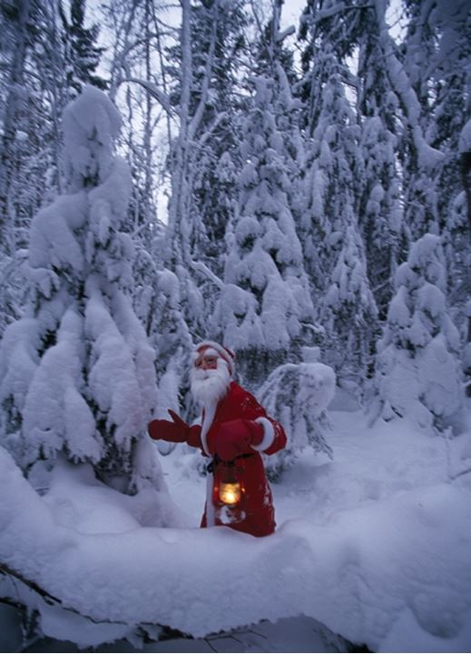 Santa Claus walking in snow