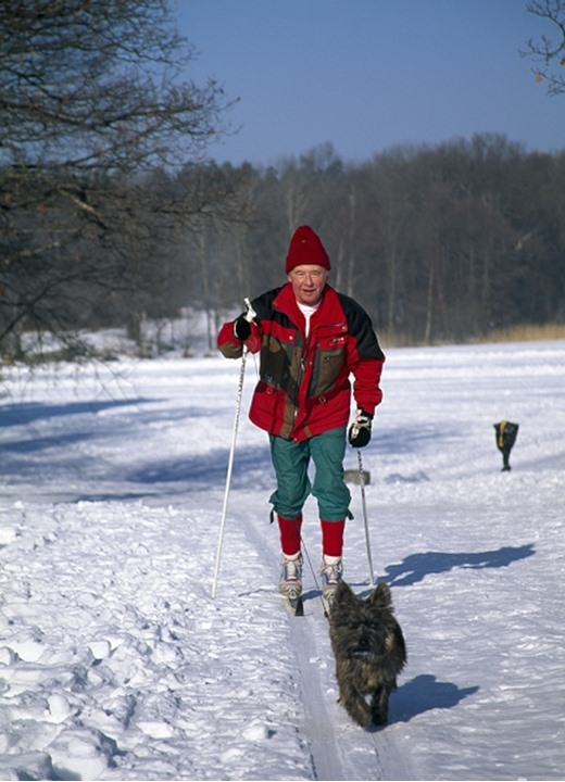 A senior man skiing in the snow with dog