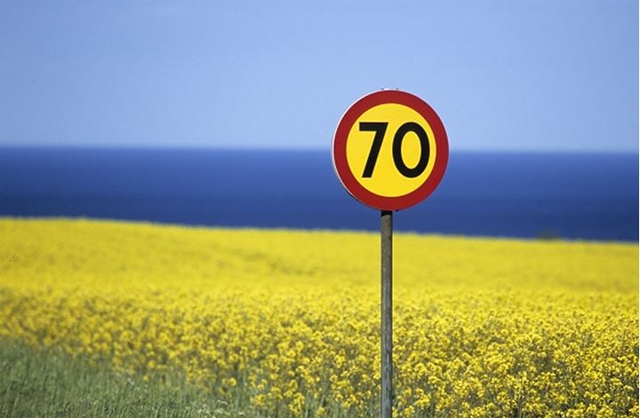 Speed limit sign at the edge of an oilseed rape field