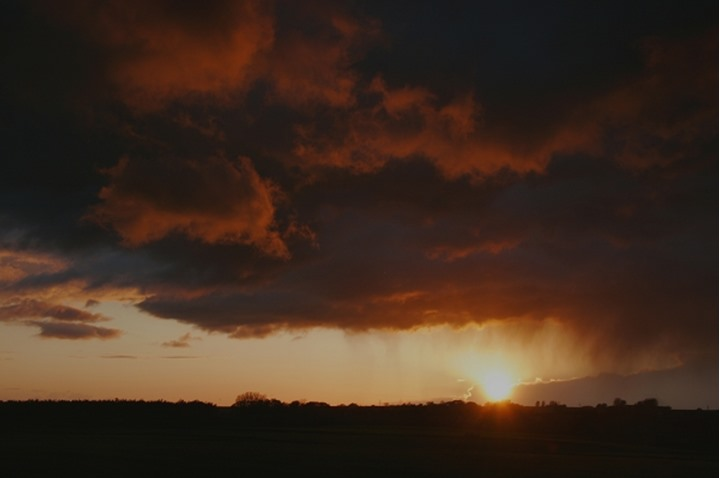 Dramatic sky with stormy clouds at sunset