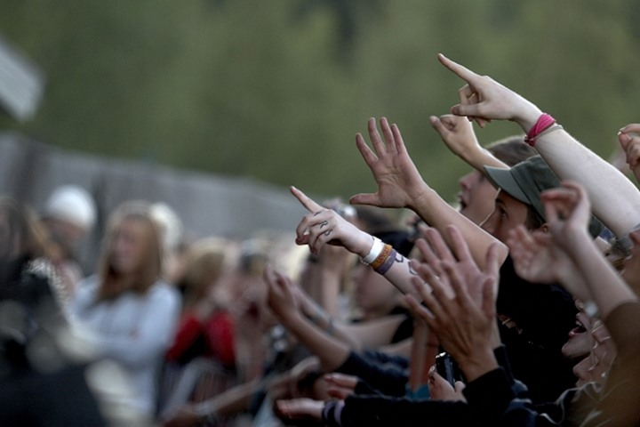 People screaming at a rock concert in Sweden