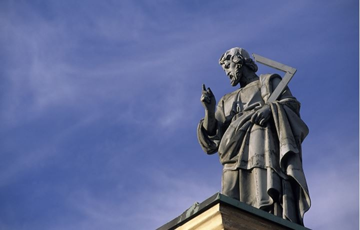 Low angle view of a statue in Petersplatsen, Italy, Europe