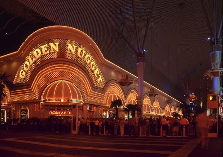 Facade of a casino in Fremont street at Las Vegas, USA