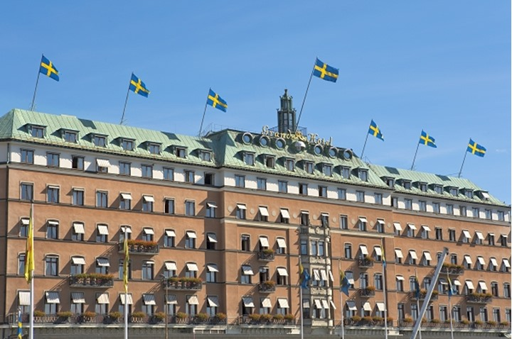 Low angle view of a hotel, Grand Hotel, Stockholm, Sweden