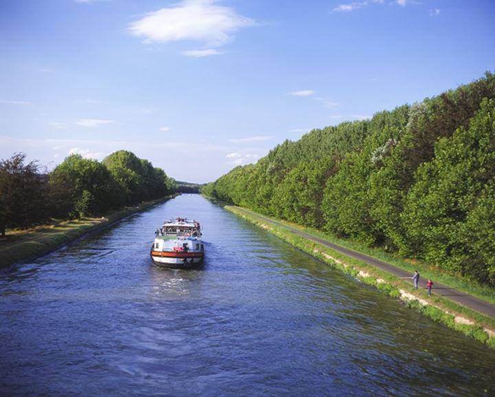 High angle view of a ferry in a canal