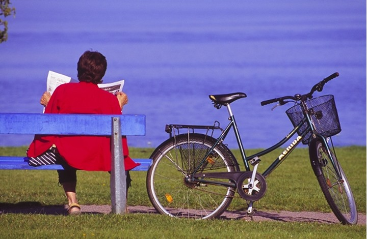 Rear view of a woman sitting on a bench and reading a newspaper, Vanern, Sweden