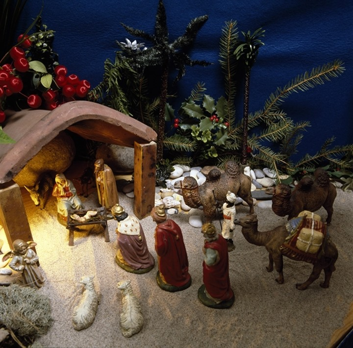 High angle view of figurines in a nativity scene