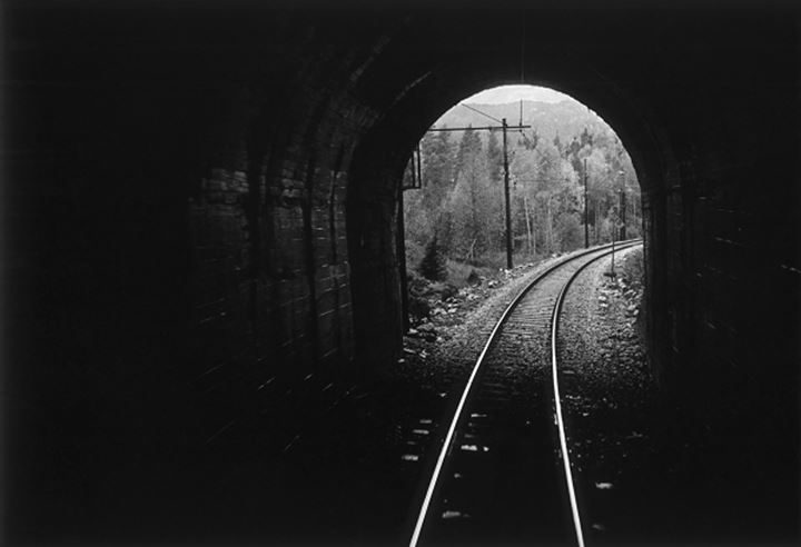 Railroad track passing through a tunnel