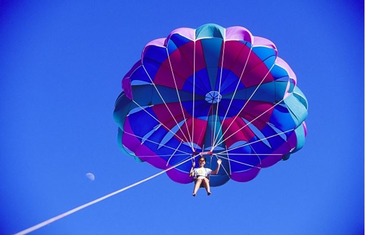 A parachute jumper in mid air