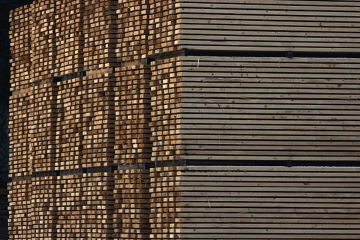 Piles of wooden crates in detail