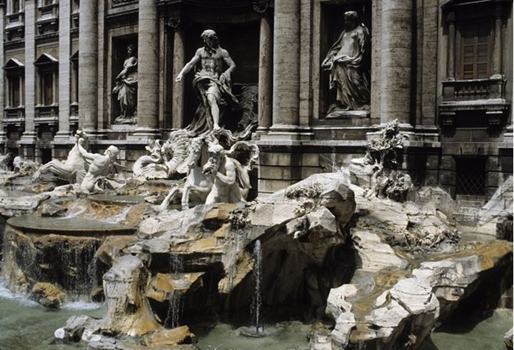 Old building architecture fountains and statues