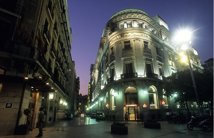 Low angle view of architectural buildings at night