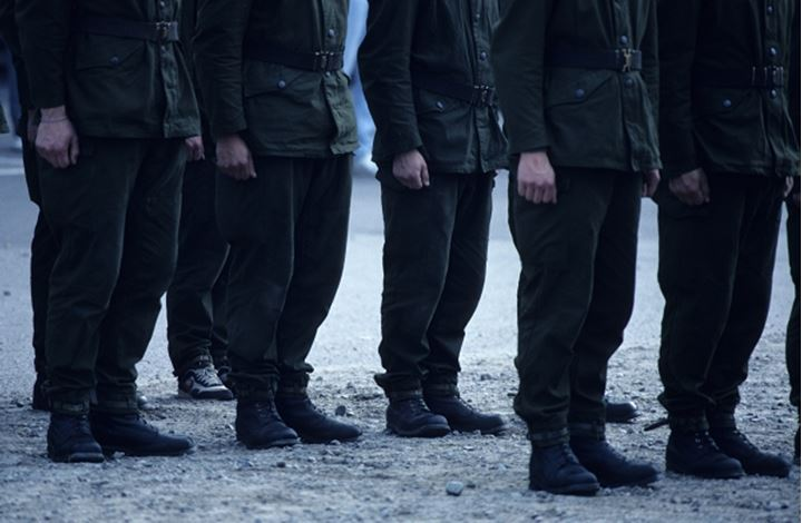 Army soldiers standing in the group